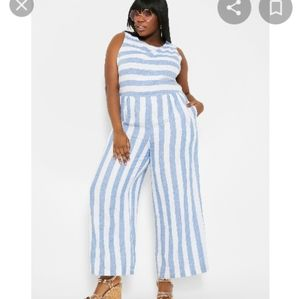 Blue and white jumpsuit with pockets